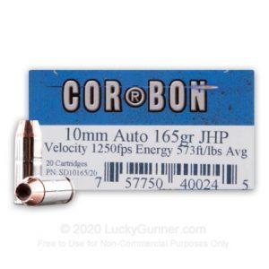 10mm Auto - 165 Grain JHP - Corbon - 20 Rounds