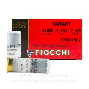 12 Gauge - 2-3 4 7.5 Shot - Fiocchi Target - 25 Rounds