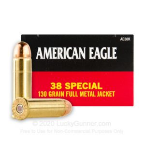 38 Special 50 Rounds Federal American Eagle 130 Grain FMJ