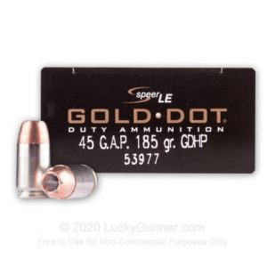45 GAP- Speer Gold Dot- 185 Grain JHP- 50 Rounds